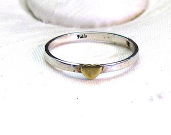 Sterling Silver Ring with Small Brass Heart ~ Heart Ring ~ sizes 7 or 8