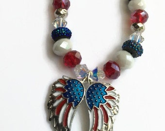 Sale, Patriotic Necklace, American Flag Angel Wings, Red White and Blue Necklace, Limited Edition, OOAK , Ready to Ship