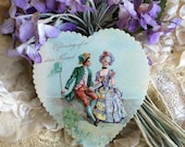 Authentic Antique Valentine Die Cut Heart Card Marie Antoinette Style For Giving Crafting Collage Ephemera Scrap for Scrapbook Work