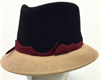 Black and Camel Burgundy Fedora, Black Felt Womens Fedora Hat, Black Womens Fedora