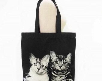 Cat Canvas Bag Kitty Cat Animal Tote Bag Screen Print Handmade