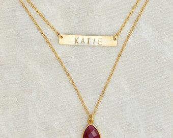 Personalized Bar Necklace, Custom Birthstone necklace, double strand necklace, nameplate Necklace, id necklace - personalized necklace