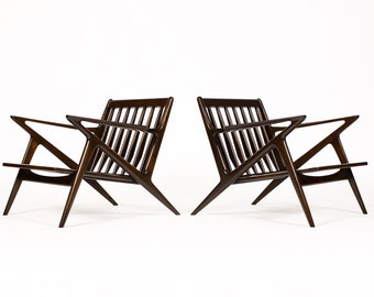 Danish Modern / Mid Century Z Lounge Chairs — Poul Jensen for Selig — Customize Upholstery — Pair