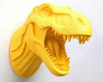 Yellow Dinosaur Wall Mount - The Waze Yellow Resin T-Rex Wall Decor - Faux Dinosaur Decor by White Faux Taxidermy- Chic Bedroom Art