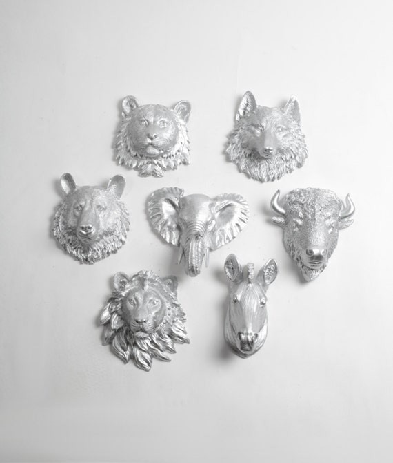 Faux Taxidermy - Create Your Own Zoo - Pick Any Three (3) Silver Miniature Faux Taxidermy Pieces From the Picture to Create Your Own Zoo