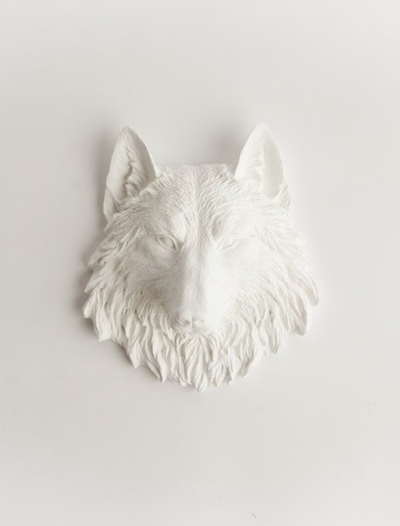 White Wolf Head Wall Mount - The Mini Jefferson Wolf Wall Art - Resin Animal Bust By White Faux Taxidermy - Wolves In Various Colors Avail