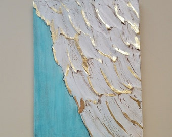 Angel Wing Art, Guardian Angel, Abstract wing wing on wood with gold leaf, ethereal, heavenly 11 x 15