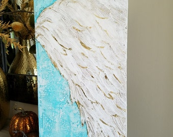 Angel Wing Art, Guardian Angel, Abstract wing on canvas with metal gold leaf, ethereal, heavenly 12 x24 Free Shipping