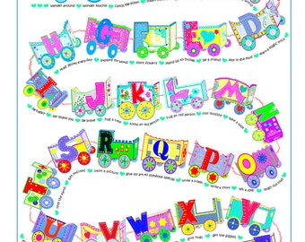 ALPHABET TRAIN POSTER, Personalize with Child's Name and Photo, Nursery Art, Toddler Wall Art, Alphabet Train, Educational Art Print, 18x24