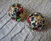 """Joan Rivers """"Plique-a-Jour"""" Stain-glass Window Effect Enamel Clip on Earrings/ I miss JOAN/Gold Tone On the Ear Colorful Enamel Button Shape"""