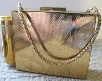 Mid Century Dance Party Vanity Cosmetics Makeup Purse Bag Evening Glamour Fashion Accessory. 40's to 50's Unworn Vintage Gold Mini Purse Bag