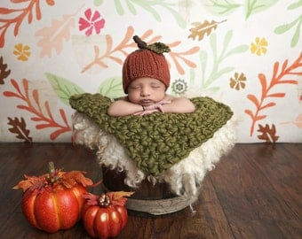 Baby Pumpkin Hat Photo Prop, Made to Order