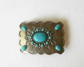 Vintage Belt Buckle Turquoise Art Glass SouthWestern Country style Silver Tone