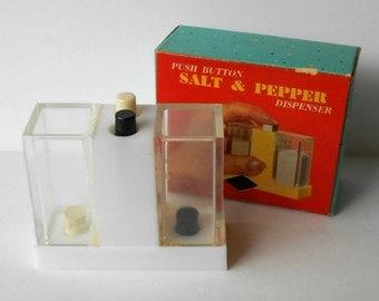 Vintage Push Button Salt & Pepper Dispenser Made in Hong Kong with original box