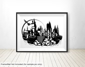 "Papercut Print signed 13""x19"" on metallic photo paper - Hogwarts Castle Harry Potter silhouette"