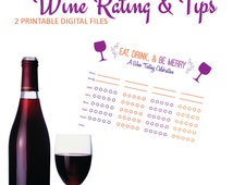 Wine Tasting - Wine Bridal Shower - Wine & Cheese Party - 2 Files: Wine Rating for up to 8 Wines + Wine Tasting Tips - Printable