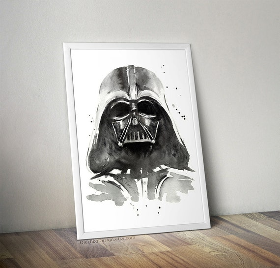 Darth Vader Watercolor Art Print The Dark Side of by ...