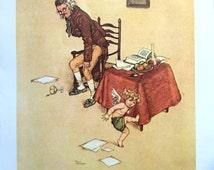 1913 W HEATH ROBINSON CHERUB in the Study Print Ideal for Framing