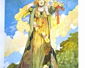 1912 Charles ROBINSON SUMMER Print Ideal for Framing