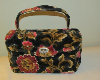 Vintage SPILENE Carpetbag Purse HANDBAG Chenille Tapestry Fabric Black with Pink Flowers