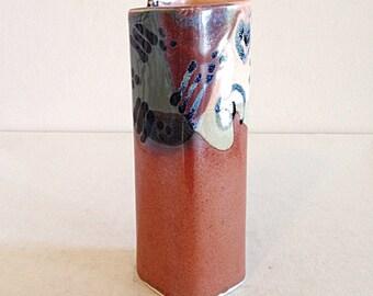 Beautiful Vintage Handbuilt Studio Artisan Pottery Vase Square Funky Glaze