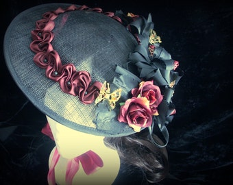 Black sinamay rococo hat with maroon and black decoration. Steampunk. Victorian. Edwardian. Lolita