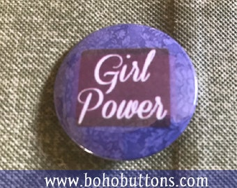 Girl Power Pinback Button, Feminist Magnet, Lady Keychain, Backpack Pin, Daughter Gift, Love Pin, Cute Pins, Punk Pins, Purple Pin, Princess
