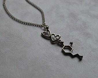 Biolojewerly -  Dopamine Neurotransmitter Heart Love Molecule Necklace