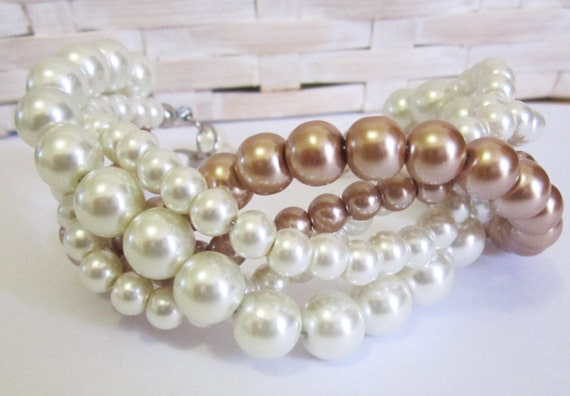 Ivory Multi Strand Glass Pearl Wedding Bracelet, Bridesmaid Gift Bracelet, Multistrand Pearl Bracelet, Ivory and Bronze Champagne Pearls