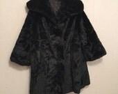 Plush Vintage Black Faux Fur Coat by Gracie Park