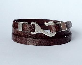 mens leather, wrap leather bracelet, hook clasp,  nautical bracelet, gift for men, surfer bracelet, mens bracelet