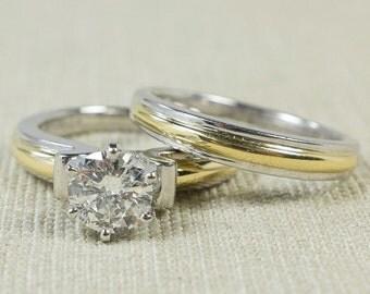 Elegant Timeless Platinum & 18K Yellow Gold Two Tone 1.17ct I2/H Round Diamond Solitaire Engagement Ring Wedding Bridal Set FREE SHIPPING!