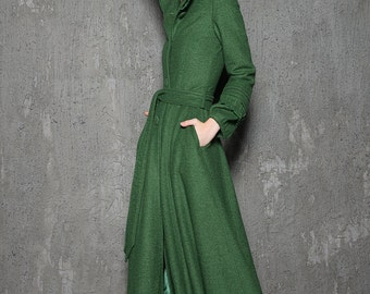 Green Wool Coat - Hooded Woman's Coat in Emerald Green with Ruffles & Pintuck Details Fit and Flare Style C785