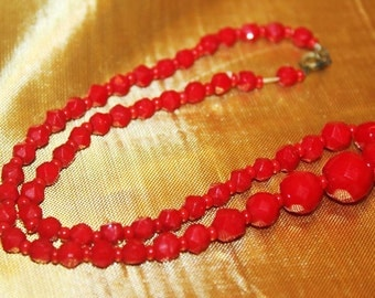 SALE! Antique Art Deco Red Gorgeous Faceted Czech Bohemian Glass Necklace NG