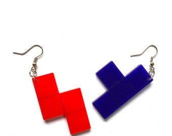 Retro Tetris Game Piece Charm Earrings Red and Purple