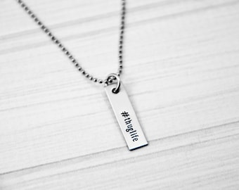 Hashtag Thug Life - Hand Stamped Necklace - Funny Quote Necklace - Stainless Steel - Quote Necklace