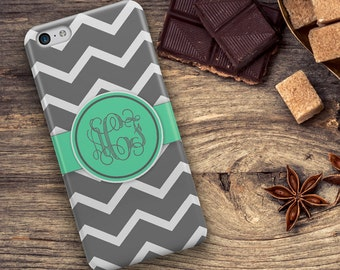 Personalized wedding gift, Chevron phone case, Preppy  Monogram Women's Gray aqua, Fits iPhone 4/4s 5/5s 6/6s 7 8 5c SE X and Plus (1064