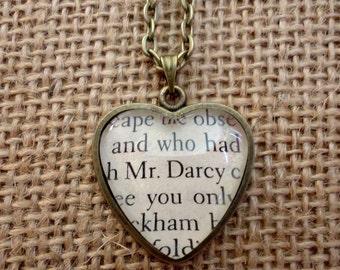 Mr. Darcy Book Page Heart Necklace - Pride and Prejudice