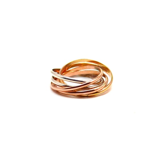 6 Band Rolling Ring - Interlocking Ring - 14k Gold, Pink Gold, Silver - Family Ring