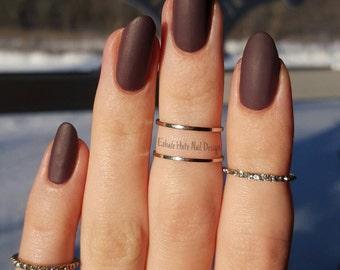 Mauve Dusty Purple Matte/Glossy Fake Press On Nails - Stiletto, Oval, Square, Coffin/Ballerina