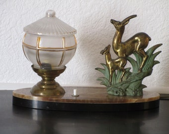 French Art Deco Deer and Fawn Sculpture Lamp -Table Lamp Light on Marble 1940s - Deer and Fawn - Vintage Deer -  Great Condition