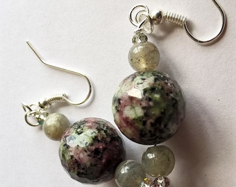 Ruby Zoisite and Natural Labradorite Dangle Earrings w/ Pink & Green Highlighted Crystal Beads