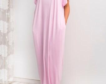 Pale Pink Maxi Dress, Caftan, Abaya, Summer Dress, Pink Plus-Size Dress, Beach Dress, Beach Cover-Up