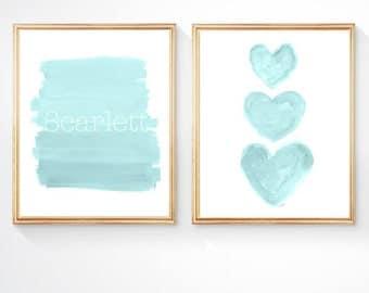 Aqua Nursery Decor, Girls Turquoise Wall Decor, Aqua Nursery Print, 8x10-set of 2, Aqua Prints, Turquoise Art, Aqua Baby Nursery, Aqua Art