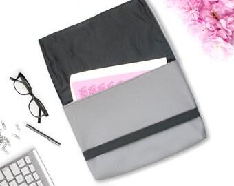 Grey Folder Bag Perforated Leather Unisex Document Carrier Portfolio