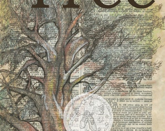 PRINT:  Tree Mixed Media Drawing on Antique Dictionary Page