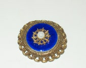 Vintage royal brooch blue enamel brooch faux pearl gold brooch