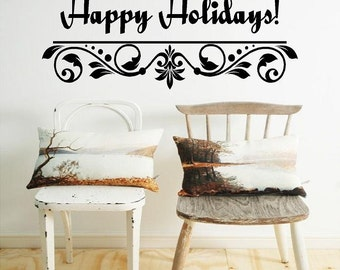 """Happy Holidays-10""""H x 18""""H-Holiday Vinyl Wall Decal-Christmas Lettering"""
