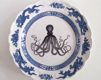 Vintage Nautical Octopus Plate Altered Art