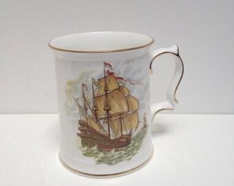 BIG Vintage Nautical Ship Mug collectible Royal Albert Staffordshire china